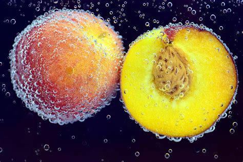 picture peach water fruit food water bubble