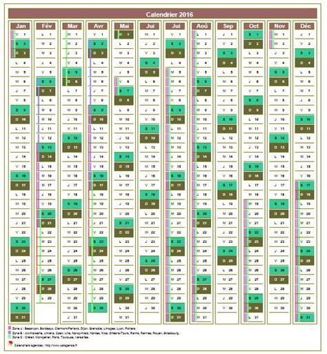 Calendrier 2016 Avec Jours Fã Riã S Calendrier Annuel 12 Colonnes Avec Les Vacances Scolaires