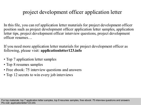 Application Letter As A Business Development Officer project development officer application letter