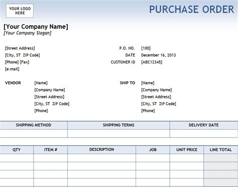 Purchase Order Excel Purchase Order Template Purchase Order Template Excel
