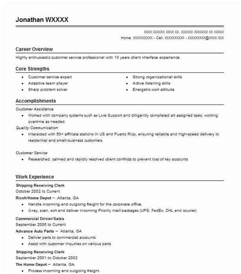 Shipping And Receiving Resume