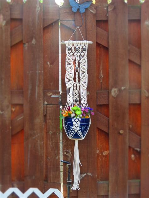 Macrame Door Hanger - macrame plant holder large white macrame wall plant hanger on