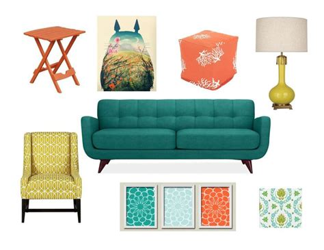 muted turquoise burnt orange golden yellow and pea green color scheme for living room for
