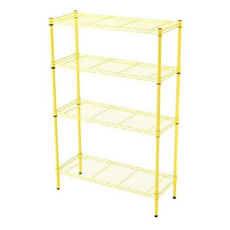 hdx 36 in x 14 in 4 tier yellow wire shelf eh wsthdus 004y the home depot
