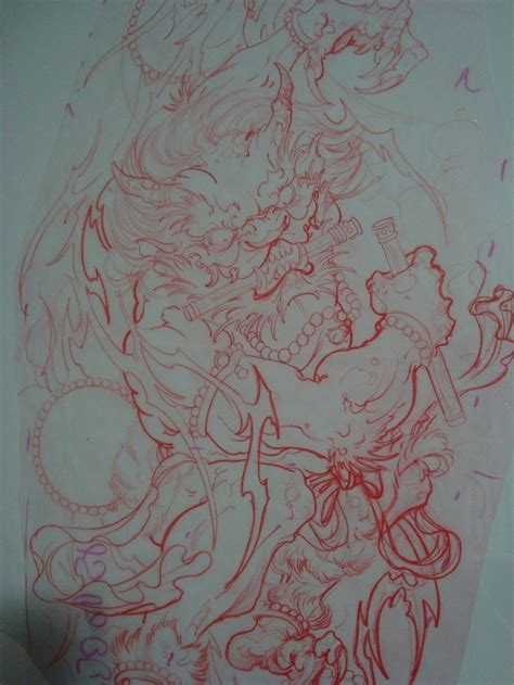 japanese thunder god full sleeve sketch tattoo
