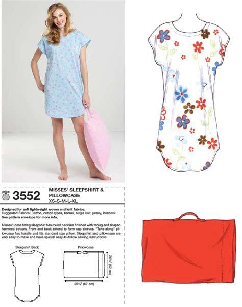 pattern sleep shirt kwik sew 3552 sleep shirt and pillowcase