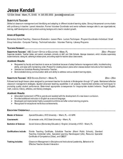Free Substitute Teacher Resume Example
