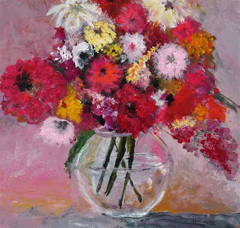 Paintings Of Flowers In A Vase by Flowers In A Glass Vase Painting By Marilyn Woods