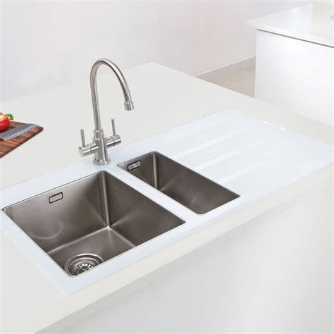 Glass Kitchen Sink Caple Vitrea 150 Glass Sink With Steel Bowls Sinks Taps