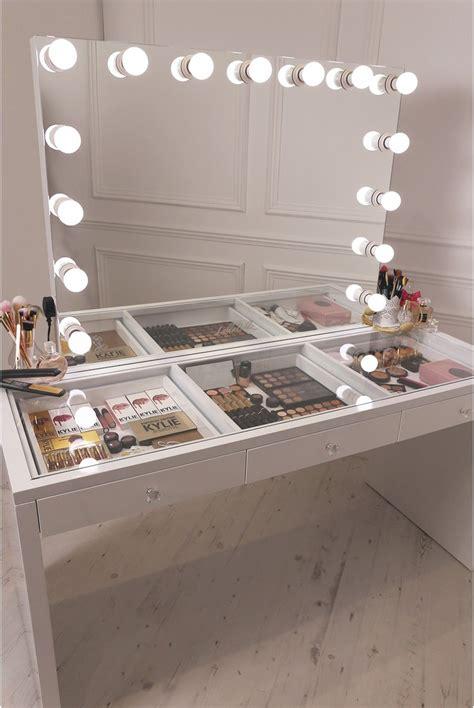makeup desk with lighted mirror crisp white finish slaystation up vanity with premium