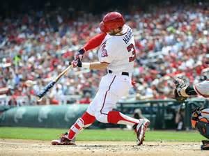 bryce harper swing bryce harper hits home run using a star spangled bat on