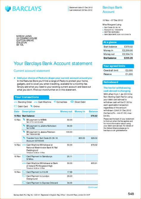 Create Bank Statement Template Free Download Create Bank Statement Template