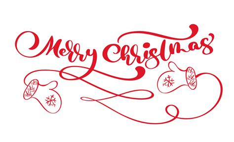 red merry christmas vintage calligraphy lettering vector