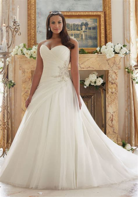 Plus Size Wedding Gown with Organza and Tulle   Style 3203
