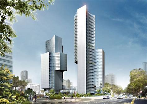 ole scheeren unveils plans   twin towers duo