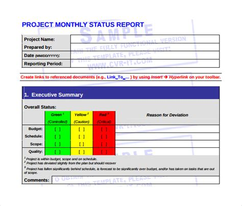 monthly management report template 15 documents in pdf