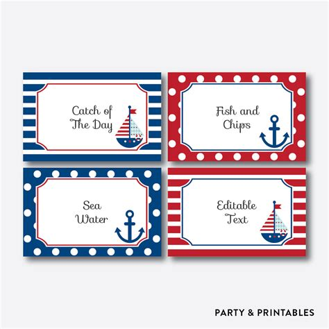 printable anchor gift tags instant download editable nautical food labels food tags