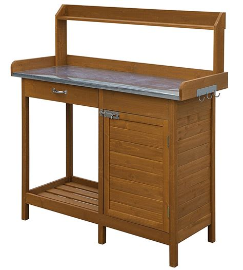 potting bench with cabinet deluxe potting bench with cabinet in potting tables