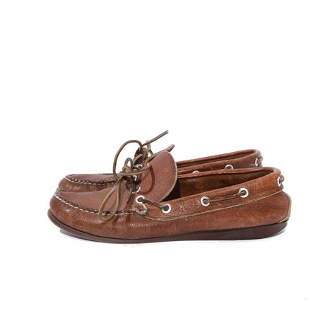 loafer boat shoes ll bean moccasin boat shoe loafers brown leather size 7 1 2