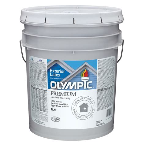 5 gallon white exterior paint shop olympic 5 gallon size container exterior flat