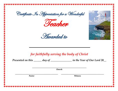 certificate of appreciation for teachers template 10 best images of for church appreciation certificates