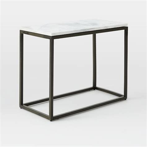 Marble Side Table Box Frame Narrow Side Table Marble Antique Bronze West Elm