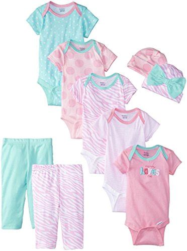 Terbatas Gerber Gift Set Fashion gerber baby 9 bodysuits gift set pink bodysuit pant 0 3months apparel accessories