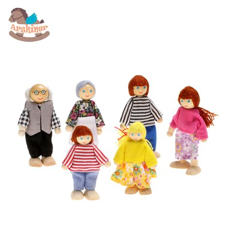 wooden doll house people arshiner 6 pcs small wooden toys doll family of 6 people dressed people happy