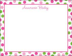 pink polka dot border personalized custom stationery