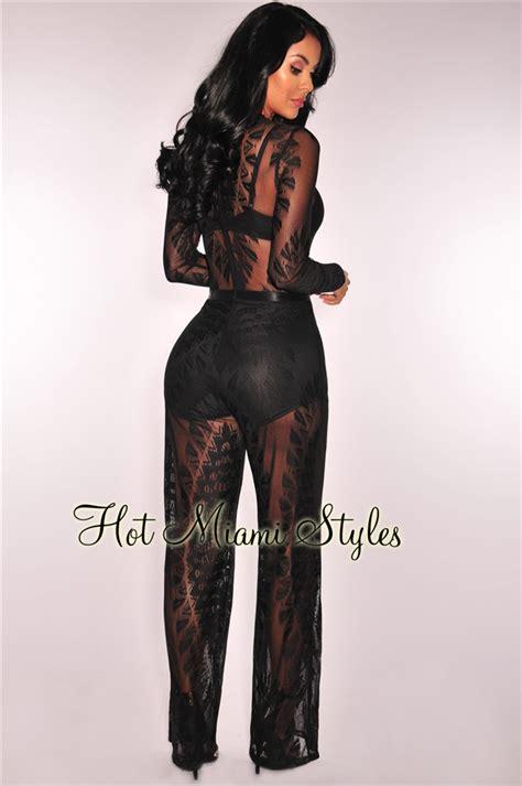 Sheer Lace Jumpsuit black sheer lace wide leg jumpsuit