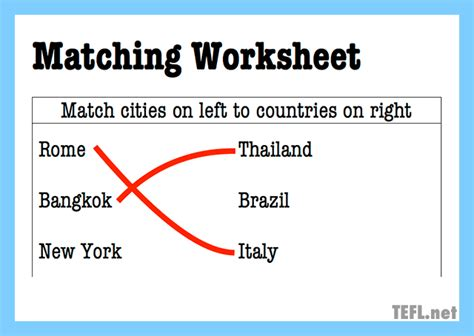 Find A Match Worksheet by Guide To Esl Worksheets Tefl Net