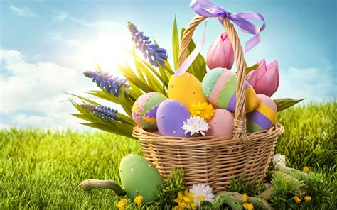 desktop easter themes easter egg basket wallpaper