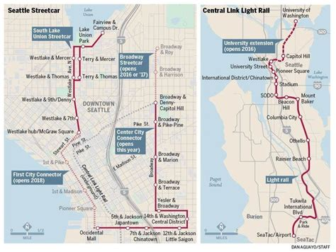 seattle map light rail seattle streetcar extension map plan to connect two legs