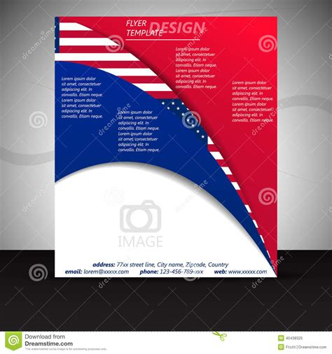 Business Flyer Template Or Corporate Banner With Usa Flag Stock Vector Image 40438325 Flyer Banner Templates