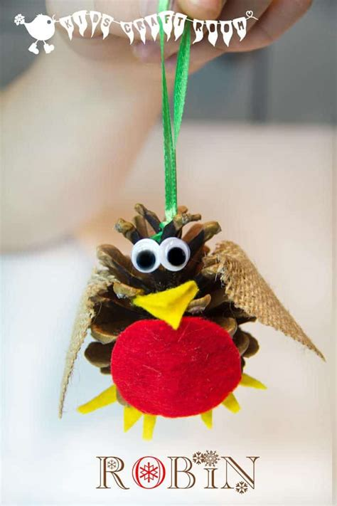 pine cone crafts for christmas pine cone craft robin ornament