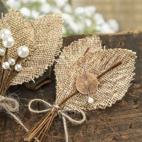 Rustic Burlap Leaf and Pearl Berry Boutonnieres   Wedding