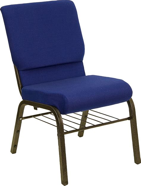 Worship Chairs by Navy Blue Hercules Church Chair With Book Basket Church