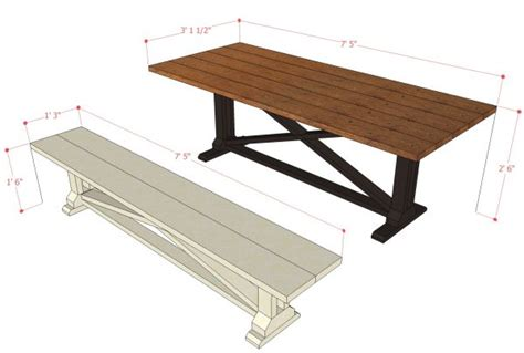 dining table bench dimensions remodelaholic rustic x dining table and bench building plan