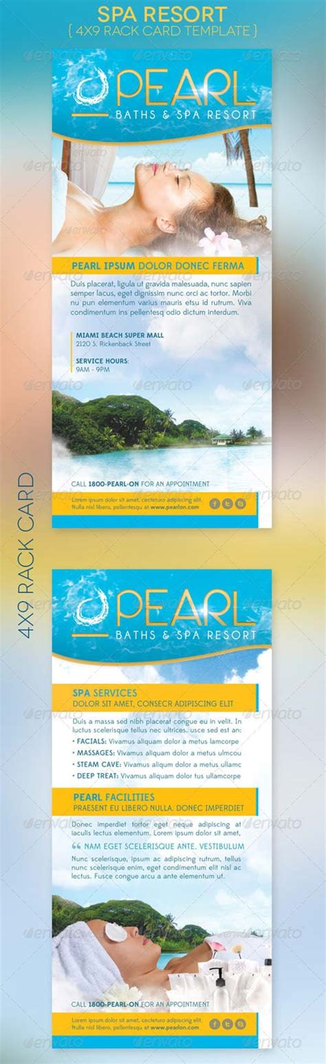 Hotel Rack Cards Template by Graphicriver Spa Resort Rack Card Template