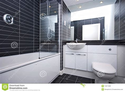 Modern Black And White Bathroom Modern New Bathroom In Black And White Stock Photo Image 14671680