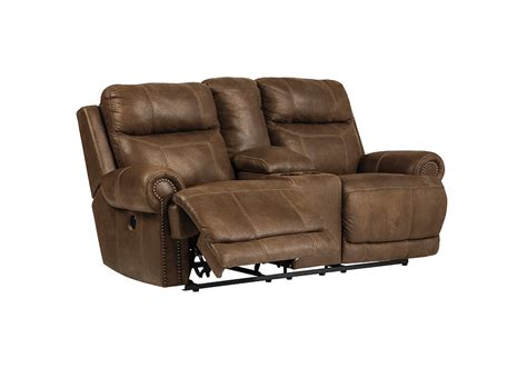 recliner overstock austere brown reclining love seat console lexington