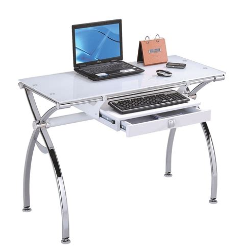 Glass Computer Desk Modern Chrome Metal With White Tempered Glass Computer Desk