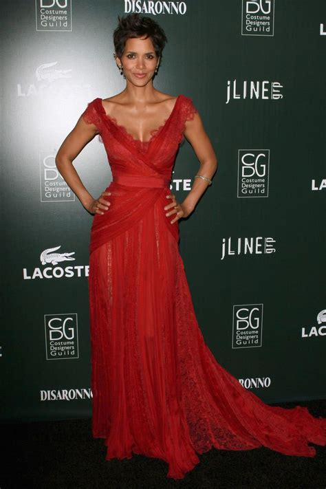 Halle Berry Costume Designers Guild Awards Red Lace Evening Prom Dress   Xdressy
