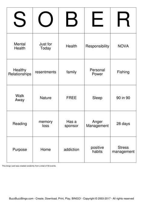 anger management bingo cards printable sober bingo cards to download print and customize