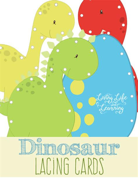 printable animal lacing cards dinosaur lacing cards