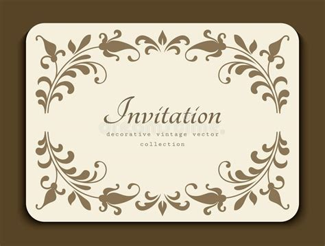 vintage name card template vintage card with floral border decoration stock vector