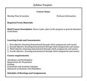 Middle School Syllabus Template by Printable Blank Resume Templates In Word For Students Or