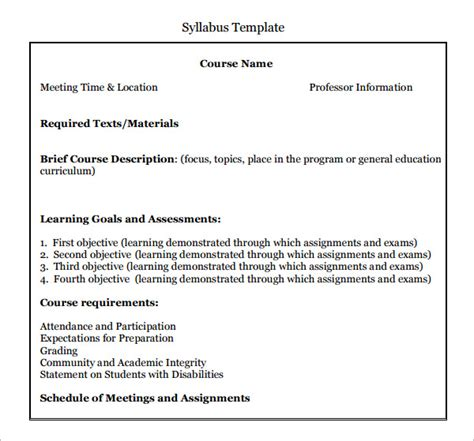 create a syllabus template 6 syllabus templates pdf doc
