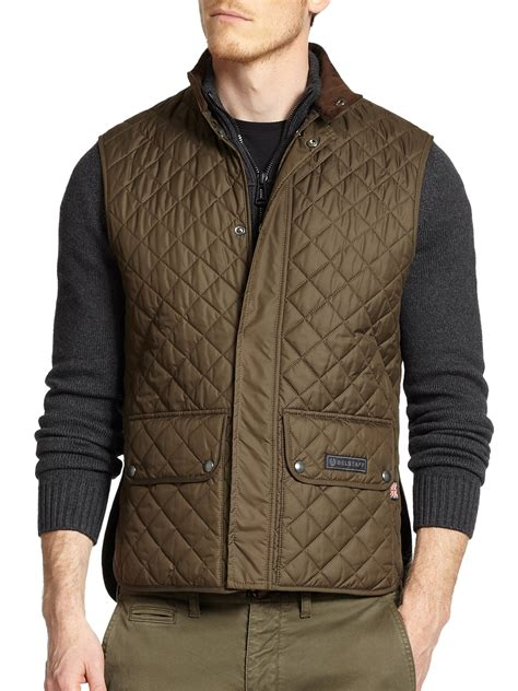 belstaff lightweight technical quilted vest in green for