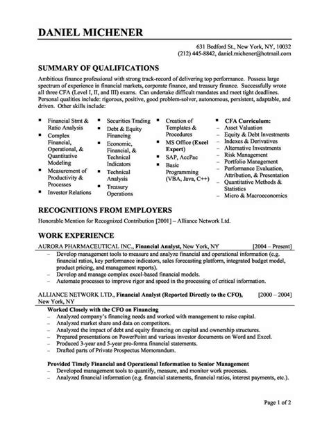 financial analyst resume format resume for skills financial analyst resume sle